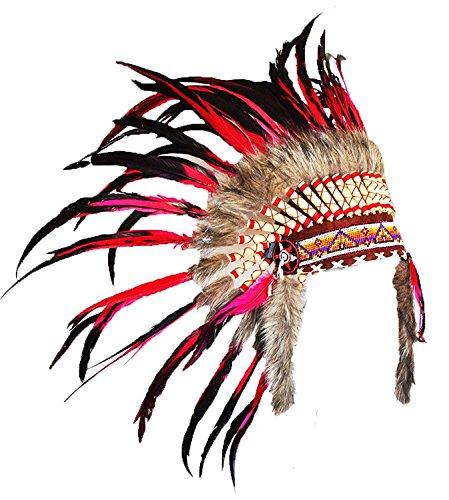 X11-Sombrero Indio de plumas rojo y negro / Penacho / Tocado / Headdress