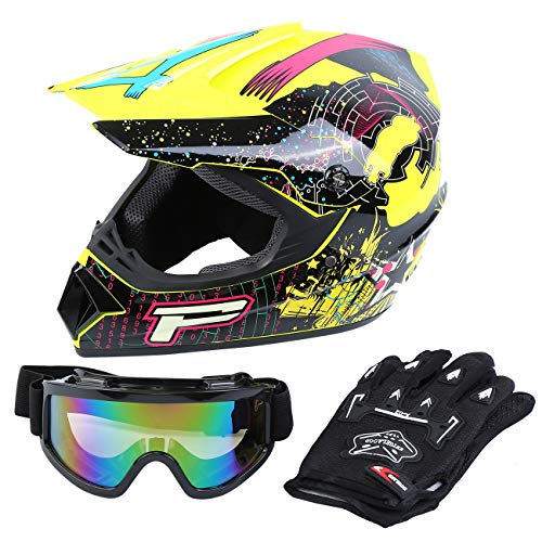Samger DOT Adulto Offroad Casco Motocross Casco Dirt Bike ATV Motocicleta Casco Guantes Gafas (Amarillo, M)