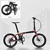 Bicicleta Plegable Bicicleta Plegable Bicicleta De Fibra De Carbono SAVA De 20 Pulgadas Bicicleta Plegable De Carbono Compacta Mini Plegable Ciudad con Shimano Sora 9S