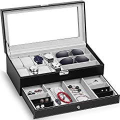 Double Layer Design: There are 8 watch slots with removable velvet pillows and 3 eyewear compartments in the top layer. And in second layer, it is a jewelry tray which includes 2 ring cases, 4 stud earring cards, 2 compartments for bracelets, necklac...