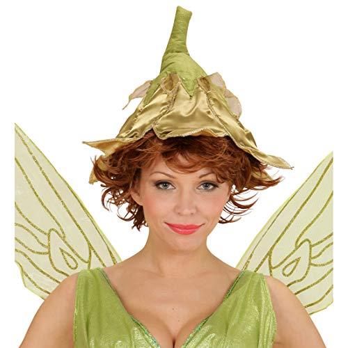 NET TOYS Bezaubernder Feenhut für Erwachsene - Gold-Grün - Märchenhafte Damen-Kopfbedeckung Elfe - EIN Blickfang für Mottoparty & Karneval
