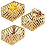 mdesign scatola bambù per la cucina – organizer cucina per ripiani e dispense – organizer portaoggetti ideale per tè, caffè, snack e cibi confezionati – set da 3 – naturale
