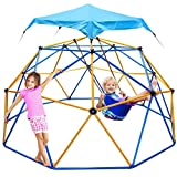 Jugader Climbing Dome with Swing and Canopy, 10FT Dome Climber for Kids Ages 3 to 10 - Rust and UV Resistant Steel