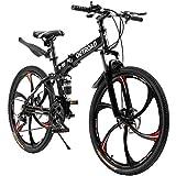 Outroad Folding Mountain Bike 6 Spoke 21 Speed 26 inch Wheel Double Disc Brake Full Suspension Anti-Slip MTB, Black