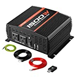 POTEK 1500W Power Inverter Dual AC Outlets 12V DC to 110 V AC Car Inverter with USB and Bluetooth