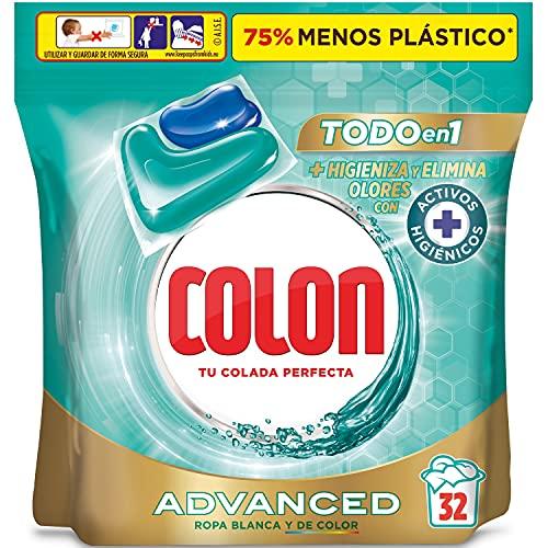 Colon Higiene Advanced Detergente para la ropa, elimina olores, adecuado para ropa blanca y de color, Formato cápsulas - 32 lavados