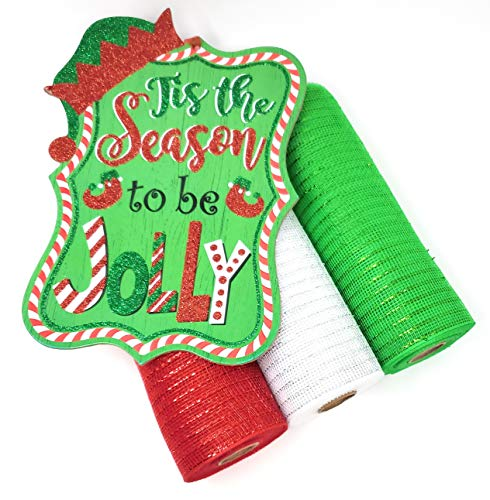 Christmas Deco Mesh Wreath Kit: 10' Mesh Rolls (Santa Red, Snow White, Elf Green) and Holiday Center Sign