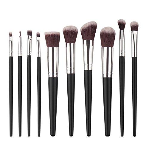 MEIYY Pinceau de maquillage Makeup10Pcs Make Up Brush Foundation Eyebrow Eyeliner Blush Cosmetic Brushes Set Kit Black
