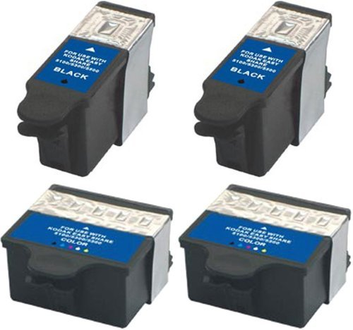Compatible Ink Cartridge Replacement for Kodak 10 (2 Black 2 Color) 4 Pack