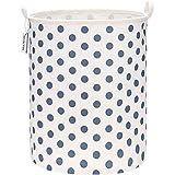 Sea Team -Recubrimiento impermeable de gran tamaño de 19.7 pulgadas,tela de algodón de ramio, cesto de lavandería plegable, canasta cilíndrica, de lona de arpillera, con diseño de punto azul elegante