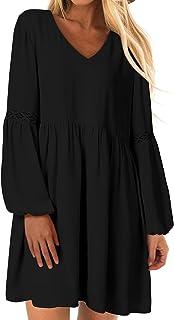 YOINS Robe Courte Femme Mini Robe Manches Longues Robe De Femme Col V Robe Chemise Décontractée Robe Casual