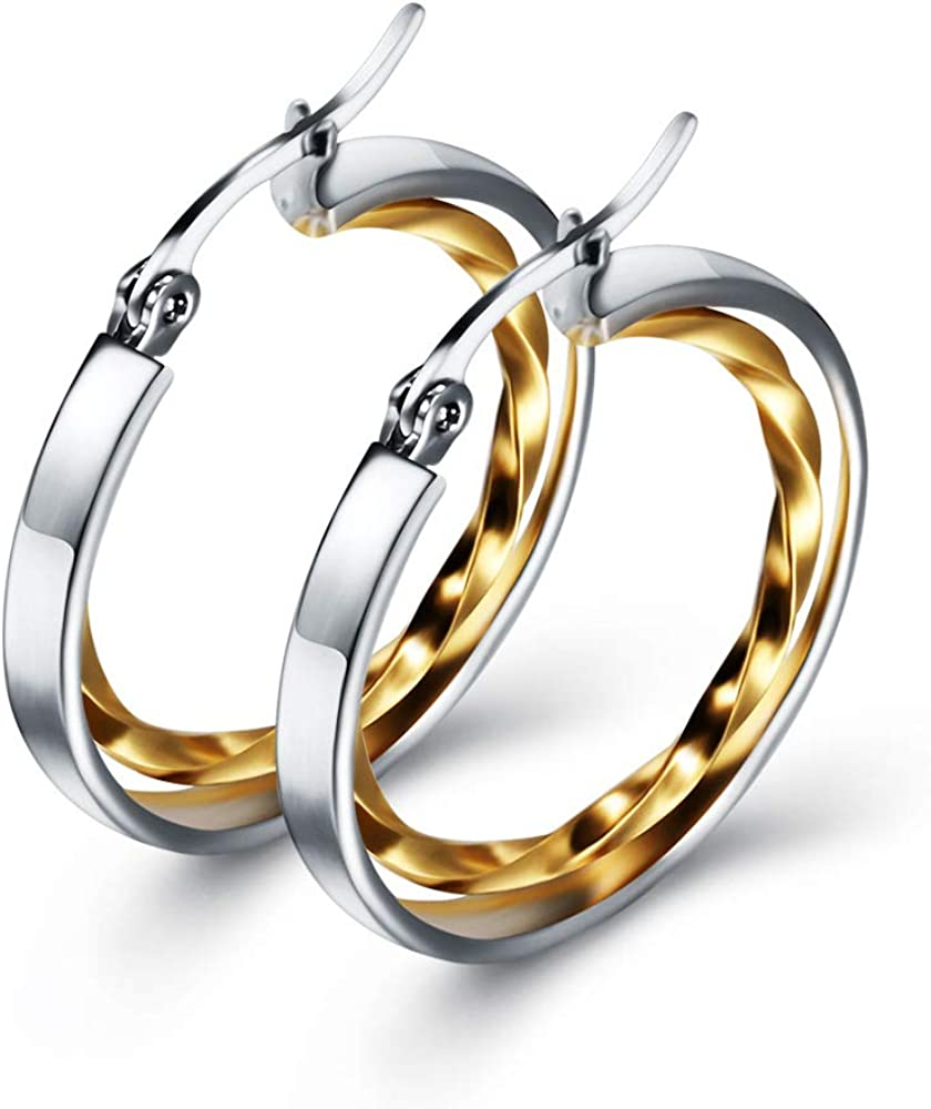 Stainless Steel Two-Tone Twisted Circle Hoop Earrings for Girl and Women