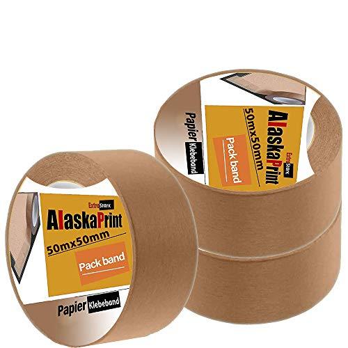 Alaskaprint 3 Rollen Papierklebeband 50mm klebeband papier paketband papier paketklebeband papier packband papier 50m x 50mm