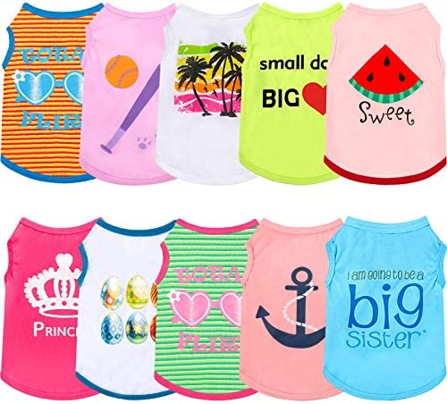 10 Pieces Dog Shirts Pet Daily Clothes Puppy Sweatshirt Cotton Dog Pullover Pet Summer Shirts product image