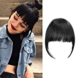 Clip in Bangs Real Human Hair Thick Neat Bangs Natural Remy Bangs Soft Fringe Hair Extensions For Women/Girls,Jet Black Color