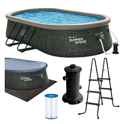 Summer Waves P11810421 18 x 10 Foot Oval Quick Set Inflatable Ring Above Ground Swimming Pool with Ladder and Filter Pump, Dark Gray Herringbone Print