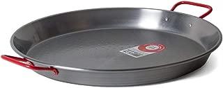 Garcima C-15RED 15-Inch Carbon Steel Paella Pan, 38cm, Medium, Silver