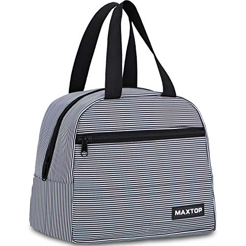 Lunch Bags for Women,Insulated Thermal Lunch Box Bag for Girls With Front Pocket and Inner Mesh Pocket, Lunch Cooler Tote Bag Gifts for Women Adults Work College Picnic Beach Park School
