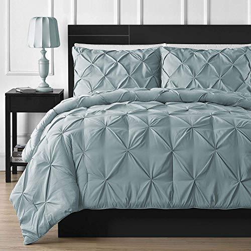 White House Night NEST 1 PC Pinch Pleated Duvet Cover (68'' x 90'') with Zipper Closure Twin/Twin-XL Size with Corner Ties,100% Egyptian Cotton 1000 Thread Count (Light Blue Solid)