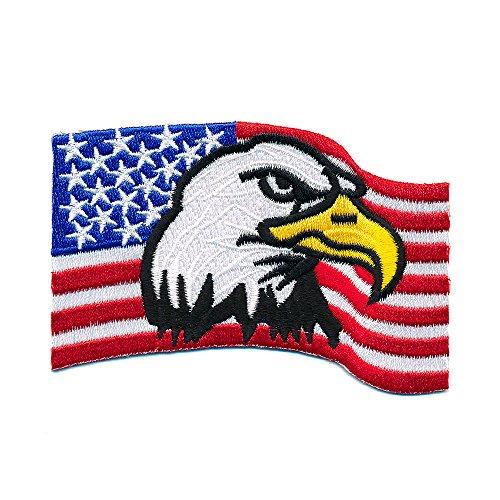 100 x 70 mm USA Flagge mit Adler Biker Trucker Patch Aufnäher Aufbügler 0670 X