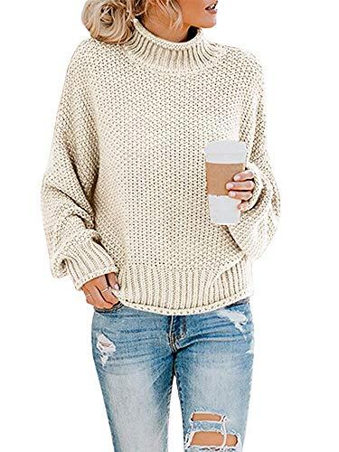 Yidarton Pullover Damen Elegant Winter Rollkragenpullover Strickpullover Grobstrickpullover Casual Lose Pulli Langarm Oberteile (3261-Weiß, X-Large)