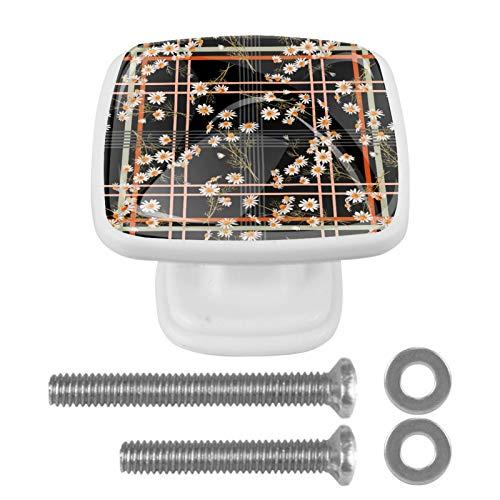 Confezione da 4 pomelli piatti per cucina, camera da letto, armadietto, maniglia quadrata per cassetto, cassettiera, ferramenta, crisantemo nero