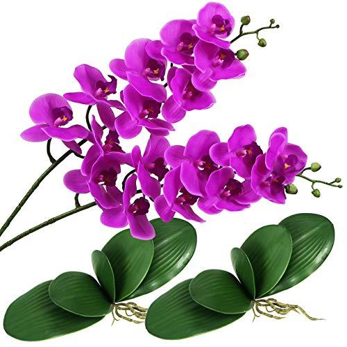 Artificial Orchid Flowers and Leaves Phalaenopsis Flower Branches Real Touch Face Plants Fake Stems Plant for Wedding Party Office Patio Yard Home Floral Decor (Purple/Red Orchid Flowers)