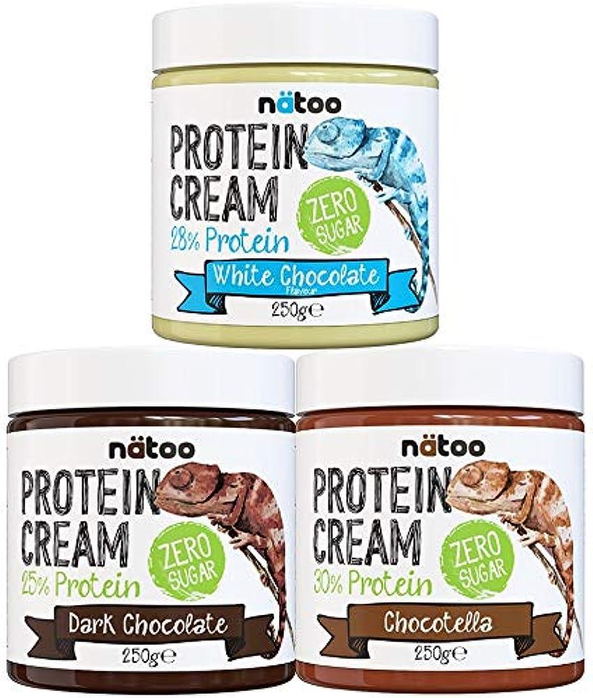 Natoo, crema proteica cioccolato fondente, bianco, nocciola - zero zuccheri - 3x250g