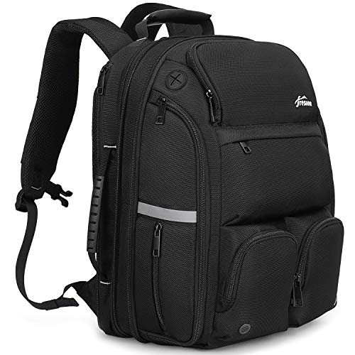 Fresion Travel Laptop Backpack for Men - 40L Large Travel Backpack with USB Port & Headphone Port, Water Resistant Carry on Travelling 15.6 Inch Computer Rucksack for Work, Travel, Business