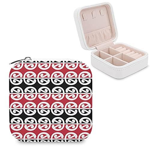 Caja de joyería para mujeres y niñas, Maori Kowhaiwhai pequeño viaje PU cuero joyería caja de almacenamiento organizador expositor para collar, pendientes, anillos, pulseras