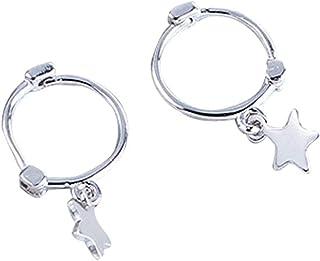 Mini Star Sterling Silver Hoop Earrings - Cute Jewelry Cartilage Sleeper Hoops for women girls