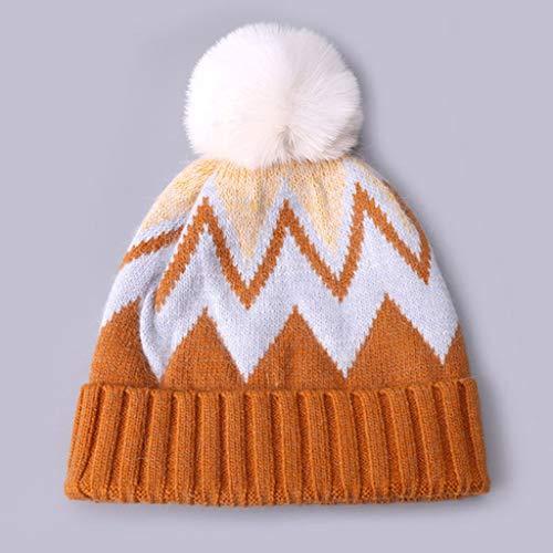 SHYPT Herbst Winter Wolle Mütze Hut Mit Kunstpelz Pompon Mode Lässig Bunt Gestreifte Weiche Mütze Outdoor Dicke Warme Mützen im Stil (Color : C)