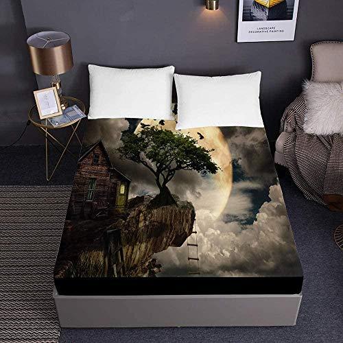 Bedclothes-Blanket Funda de colchón de Microfibra con Estampado de Cuento de Hadas, Protector de colchón Grueso de 30 cm-Los 200x200x30cm_5