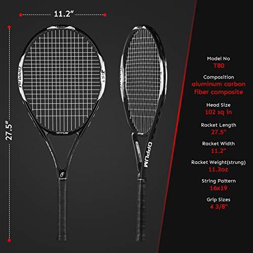 OPPUM Adult Carbon Fiber Tennis Racket, Super Light Weight Tennis Racquets Shock-Proof and Throw-Proof,Include Tennis Bag Tennis Overgrip