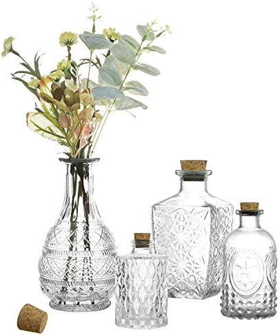 MyGift Vintage Embossed Various Sizes Clear Glass Bottle Apothecary Flower Bud Vases with Cork product image
