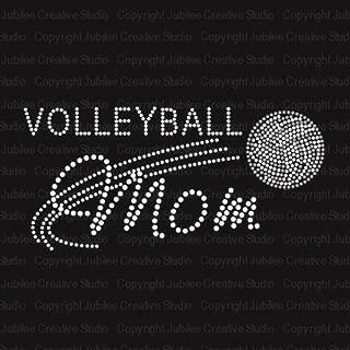 Volleyball Mom Iron On Rhinestone Crystal Transfer by JCS Rhinestones