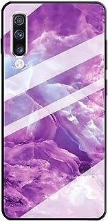 JJWYD Cover Compatible con Samsung Galaxy A70/A70S Funda Mármol Diseño Carcasa in Vidrio Templado & Silicona Bumper Hard-Case Resistente Delgado Estuche Protectora Cubierta