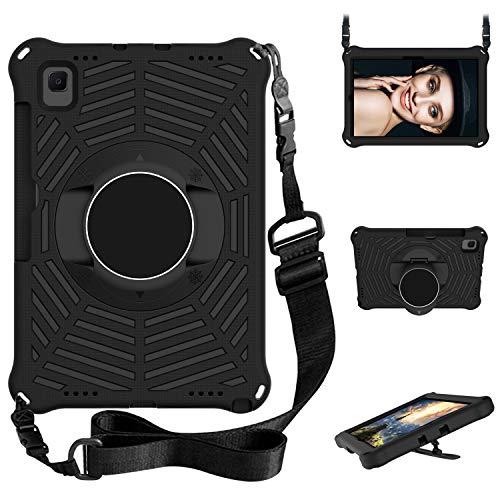 XunyLyee Compatible con Samsung Galaxy Tab A7 Funda, correa de hombro y soporte para niños, funda para tablet Samsung Galaxy Tab A7 10.4' (2020) SM-T500/T505/T507, color negro