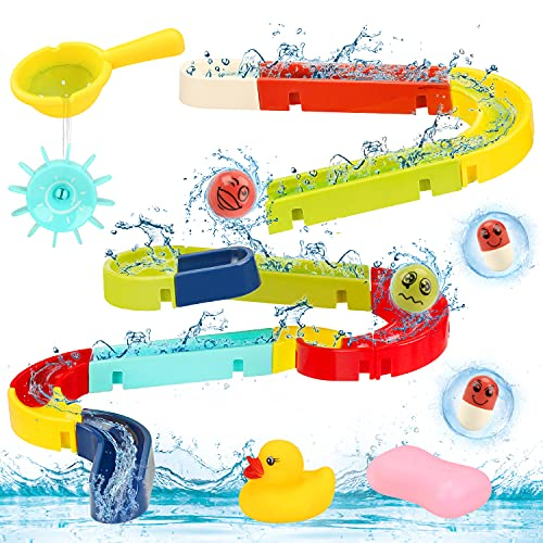 Sotodik Badespielzeug Set 38 Stück Kinder Rennbahn Badewannen Spielzeug mit Saugnäpfen DIY Wasserspielzeug Geschenke für Mädchen und Jungen