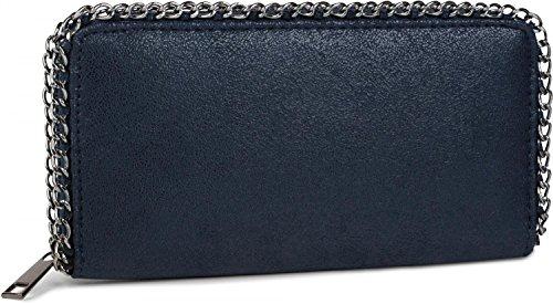 styleBREAKER morbido portafogli vintage con catena e chiusura con cerniera, portamonete, da donna 02040061, colore:Blu notte/Blu scuro