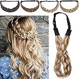 5 Strands Silk-co Extensiones de Pelo Sintético Braid hair Trenzadas Elásticas Se Ve Natural Braided Headbands for Women Pelo Trenzado Accesorios 1.5'-Rubio & Miel rubio