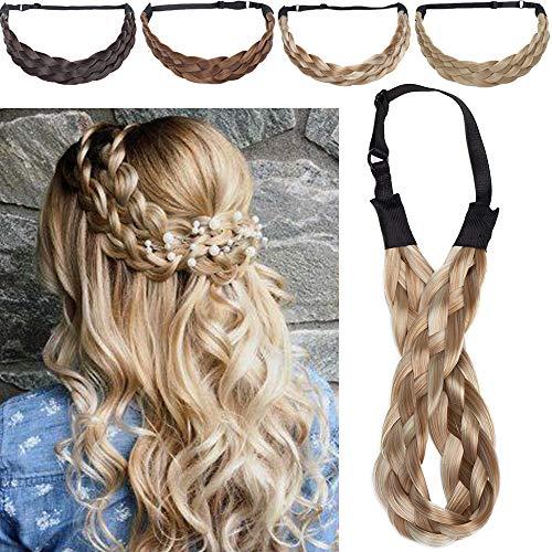 5 Strands Silk-co Extensiones de Pelo Sintético Braid hair Trenzadas Elásticas Se Ve Natural Braided Headbands for Women Pelo Trenzado Accesorios 1.5 -Rubio & Miel rubio