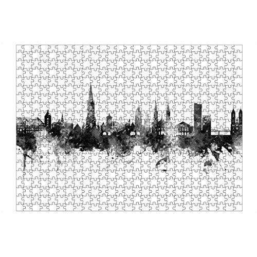 artboxONE Ravensburger-Puzzle L (500 Teile) Städte Freiburg Germany Skyline Black - Puzzle Freiburg City Cityscape
