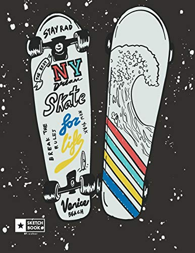 NY skate: NY skateboard cover (8.5 x 11) inches 110 pages, Blank Unlined Paper for Sketching, Drawing , Whiting , Journaling & Doodling (NY skateboard sketchbook, Band 1)
