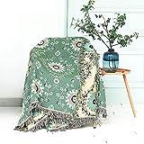 100prozent Baumwolle boho decke 150x200CM,Doppelseitig gewebte tagesdecke mit Fransen Couchdecke Sesseldecke Wohndecke Wendedecke Kuscheldecke Sofadecke mit Muster,Sonnenblumen,Grün/Beige