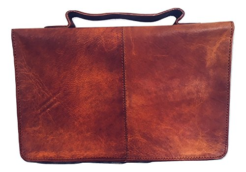 Leather Bible Cover Book Cover Planner Cover with Handle and Back Pocket (Light Brown)