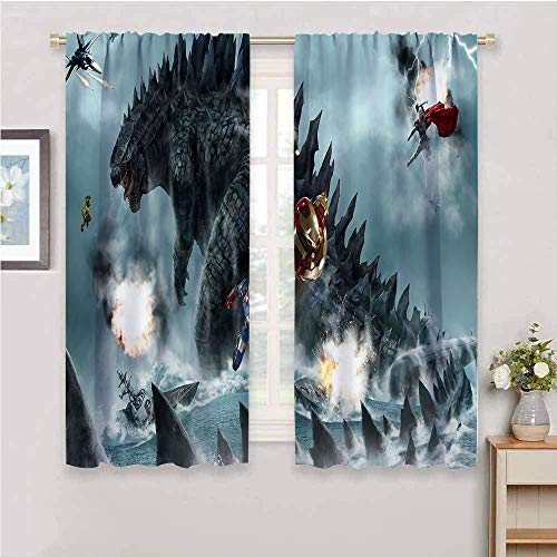 Godzilla King of the Monsters - Cortinas opacas para oscurecer la habitación, 2 paneles con aislamiento térmico, 182 x 182 cm