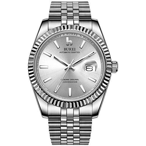 BUREI Mens Luxury Automatic Watches 24 Zifferblatt Analog Datumsanzeige Saphirglaslinse mit Silber Edelstahlband