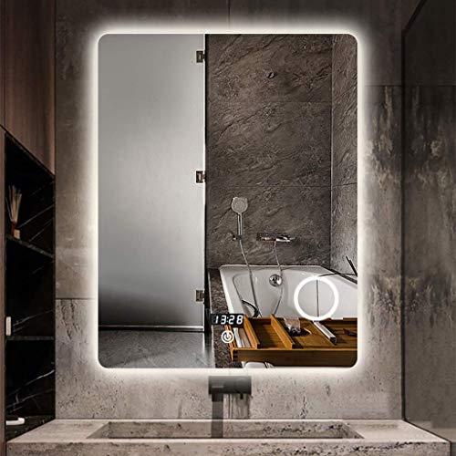 XCTLZG Espejo de baño Iluminado por LED con Lupa antideflagrante y antiescaras Smart Touch Regulable, Pantalla de Tiempo/Temperatura Espejo HD, 800 * 600 mm