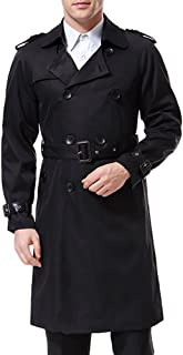 Men's Double Breasted Trenchcoat Stylish Slim Fit Mid Long Belted Windbreaker